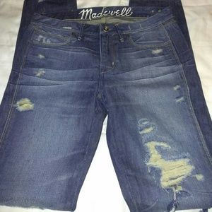 Madewell Skinny Low Jeans Size 27 Destroyed